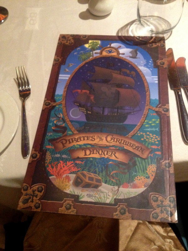 Menu Pirata no Disney Magic