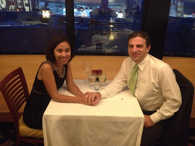 Eu e Gabe no nosso jantar no Palo