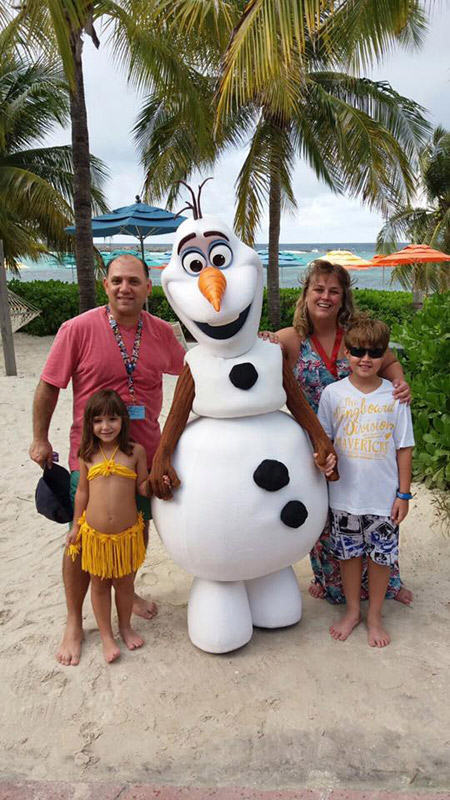 Com o Olaf em Castaway Cay