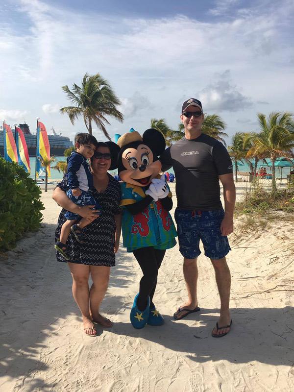 Foto de família com a Minnie em Castaway Cay