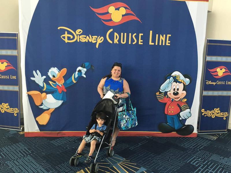 Marjory e o filhote embarcando no Porto de Miami