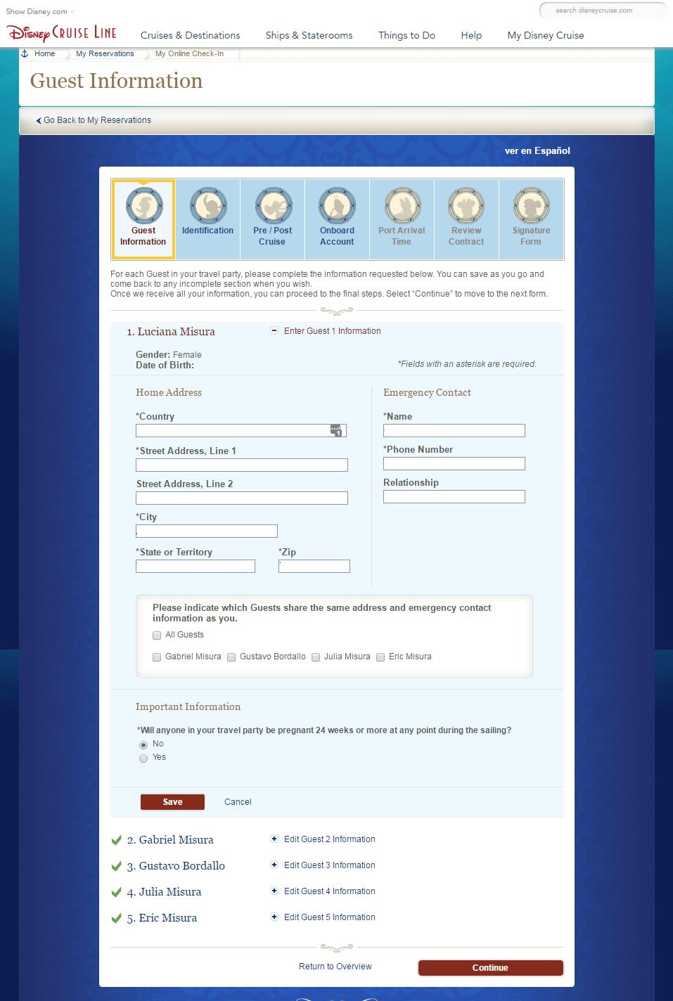check in do cruzeiro Disney: Primeiro passo, Guest Information