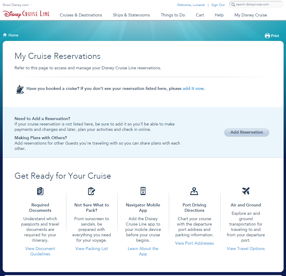 My Cruise Reservations, clique Add Reservation