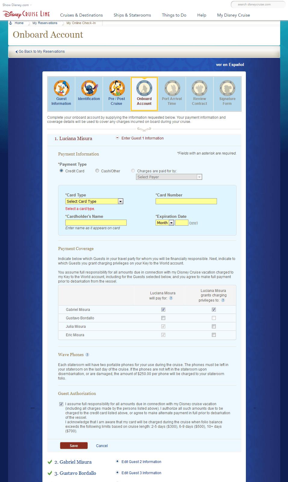 Onboard Account com cartão de crédito