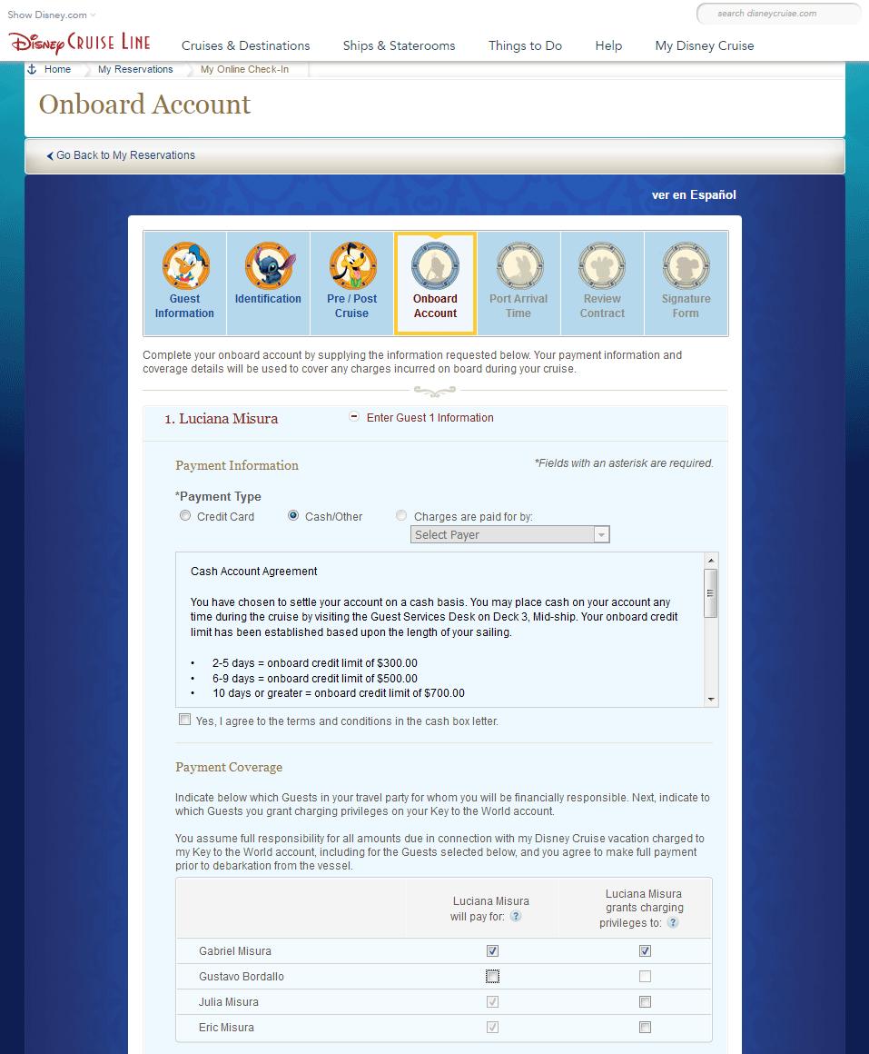 Onboard Account, opção Cash