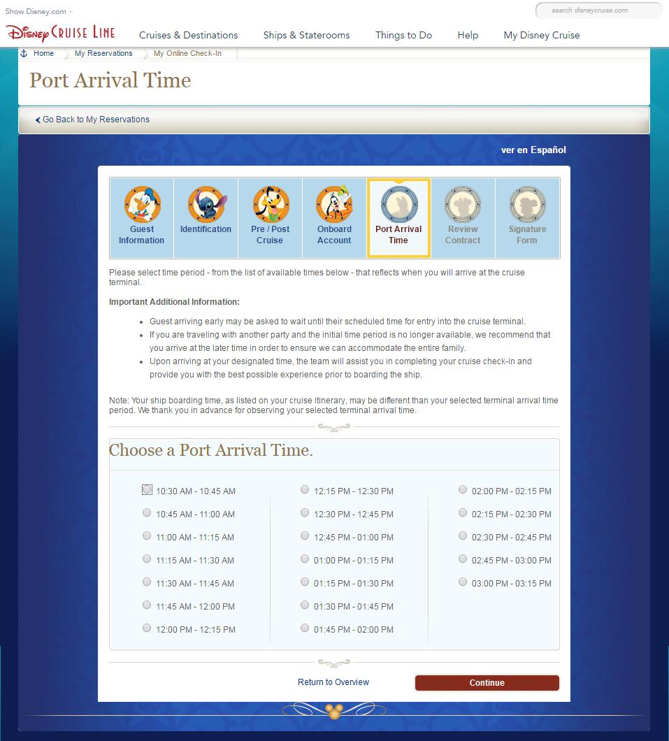 Port Arrival Time, escolha o seu horário de check in no porto