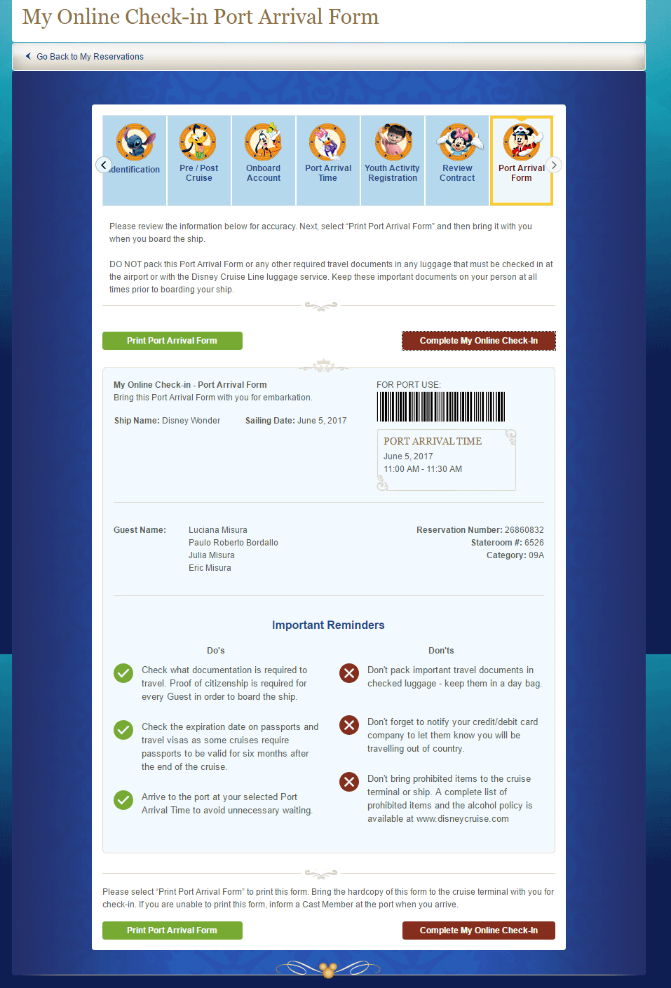 check in do cruzeiro Disney: imprima o Port Arrival Form