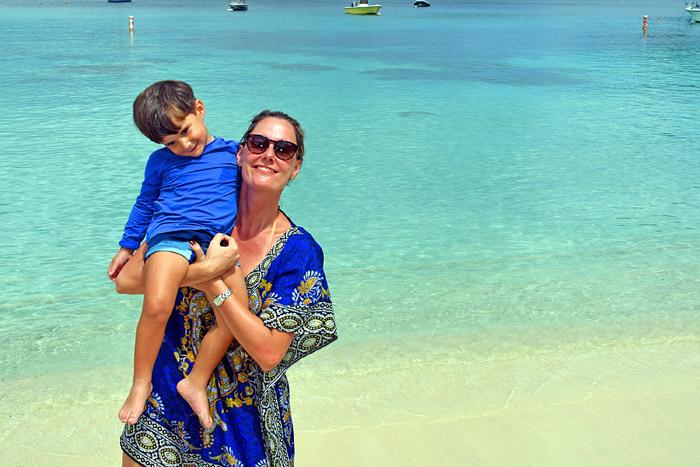 Nós em St Thomas, na praia de Magen's Bay