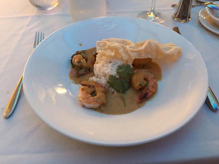 Camarões em um dos jantares
