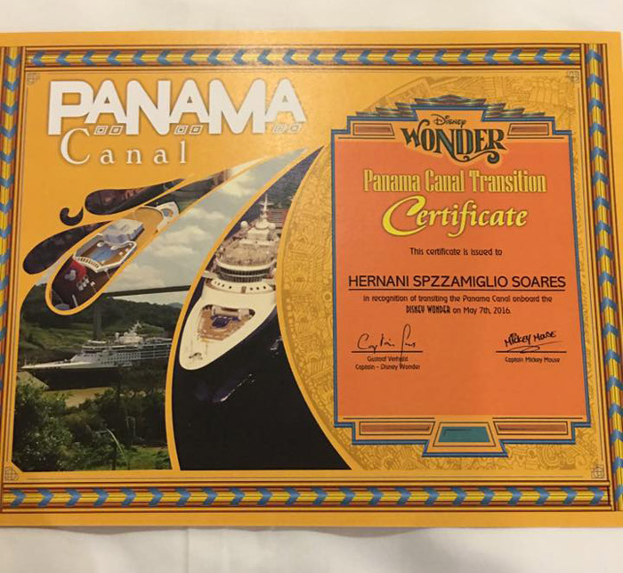 Certificado da travessia do Canal do Panamá que ganhamos no Disney Wonder