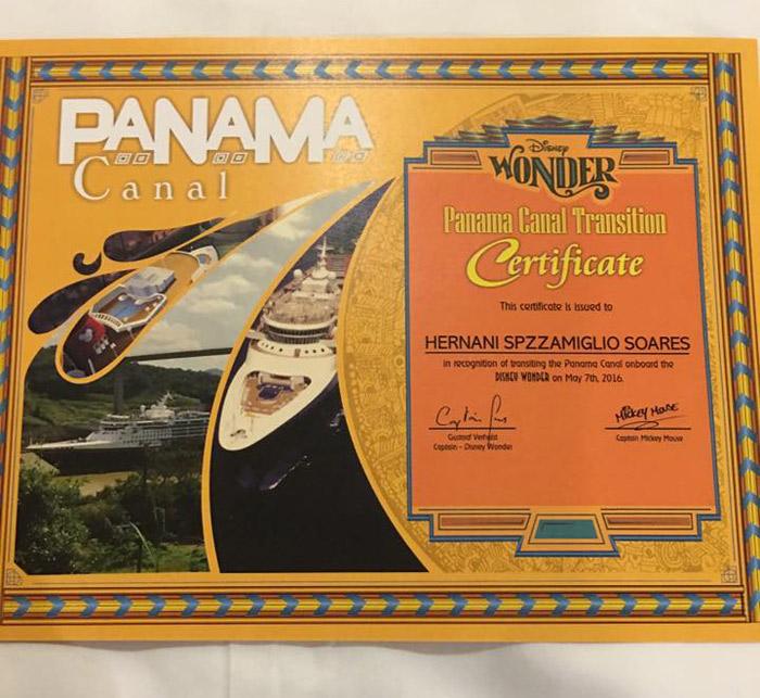 Certificado da travessia do Canal do Panamá que ganhamos no Disney Wonder