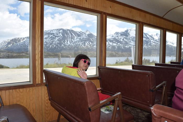 No trem White Pass em Skagway, Alasca