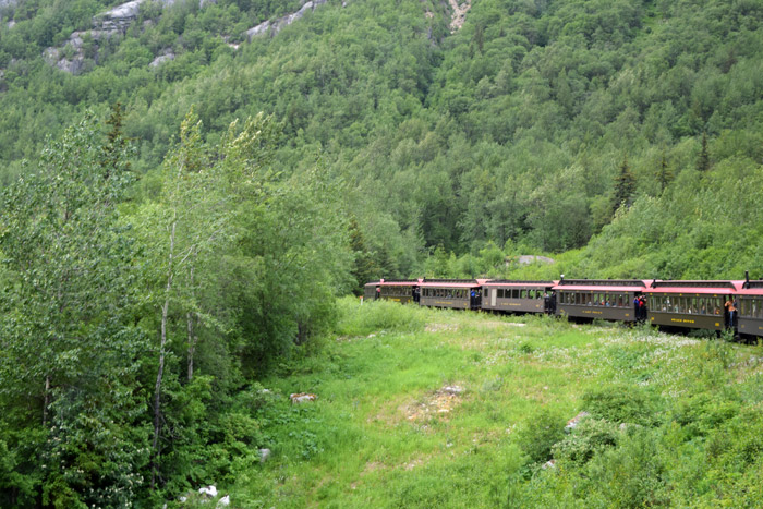 O trem da ferrovia White Pass