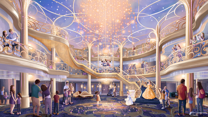 Desenho do átrio do novo navio Disney Wish