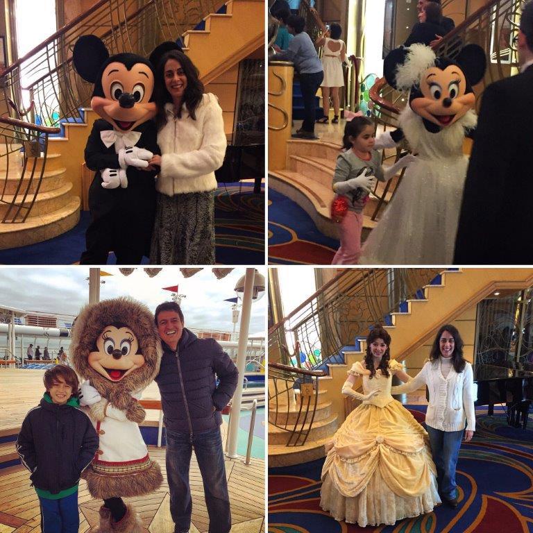 Muitos personagens no primeiro dia de mar no Disney Wonder rumo ao Alasca