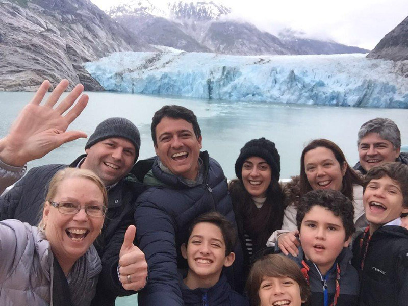 Selfie com a geleira no Alasca