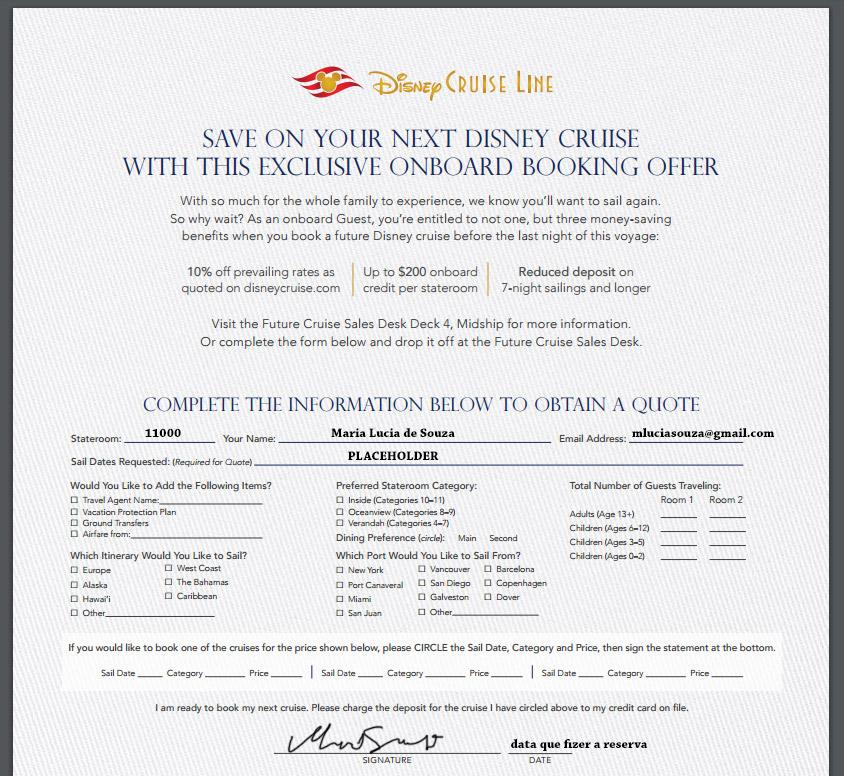 Ficha para preencher e ter desconto no cruzeiro Disney