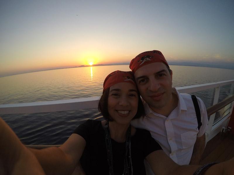 Cruzeiro Disney no Mediterrâneo pôr-do-sol lindo