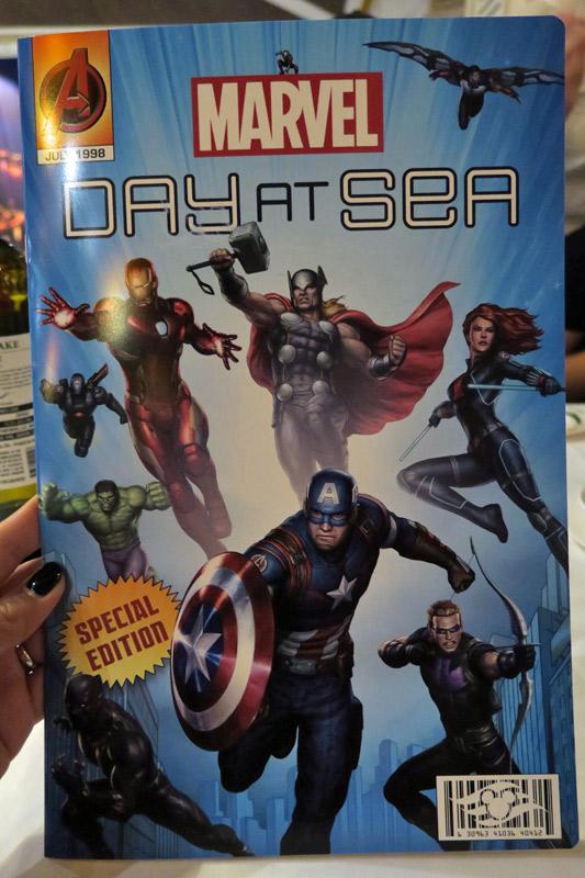 Menu do dia Marvel no cruzeiro Disney