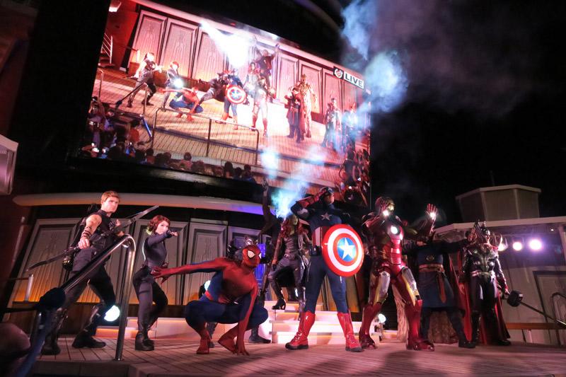 Show Marvel Heroes Unite no dia Marvel no cruzeiro Disney