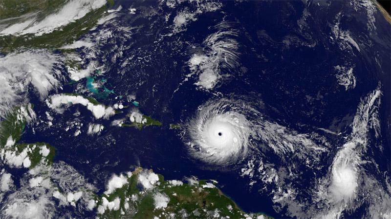 O furacão Irma, categoria 5, visto do espaço. Foto da NASA.