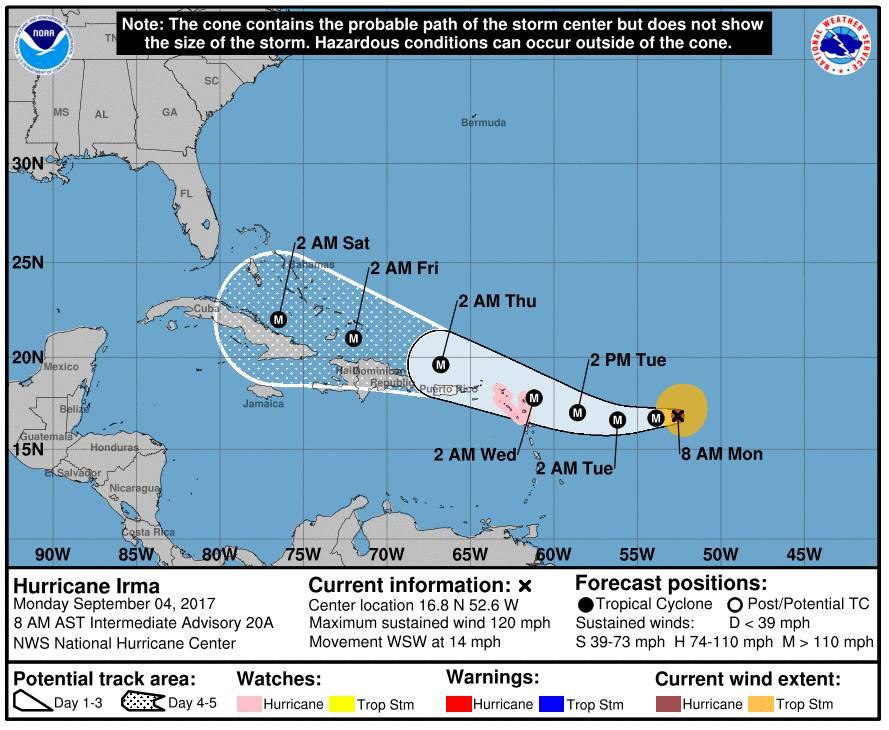 Rota do furacão Irma com dias e horários onde o furacão ia passar, em setembro de 2017
