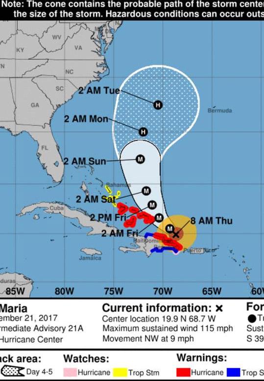 Rota do furacão Maria, que arrasou Porto Rico, em setembro de 2017