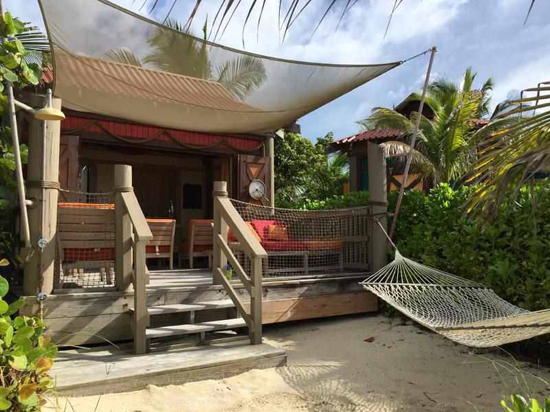 Cabana em Castaway Cay na praia de família