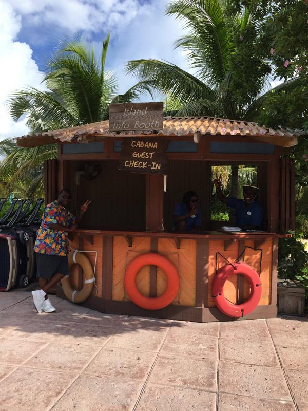 Check in das Cabanas em Castaway Cay