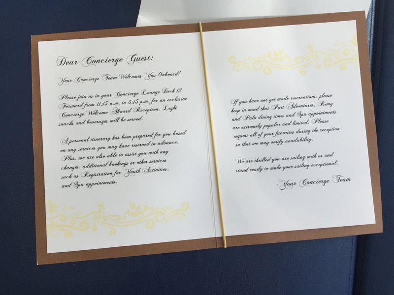Informações sobre a recepção de boas vindas Concierge