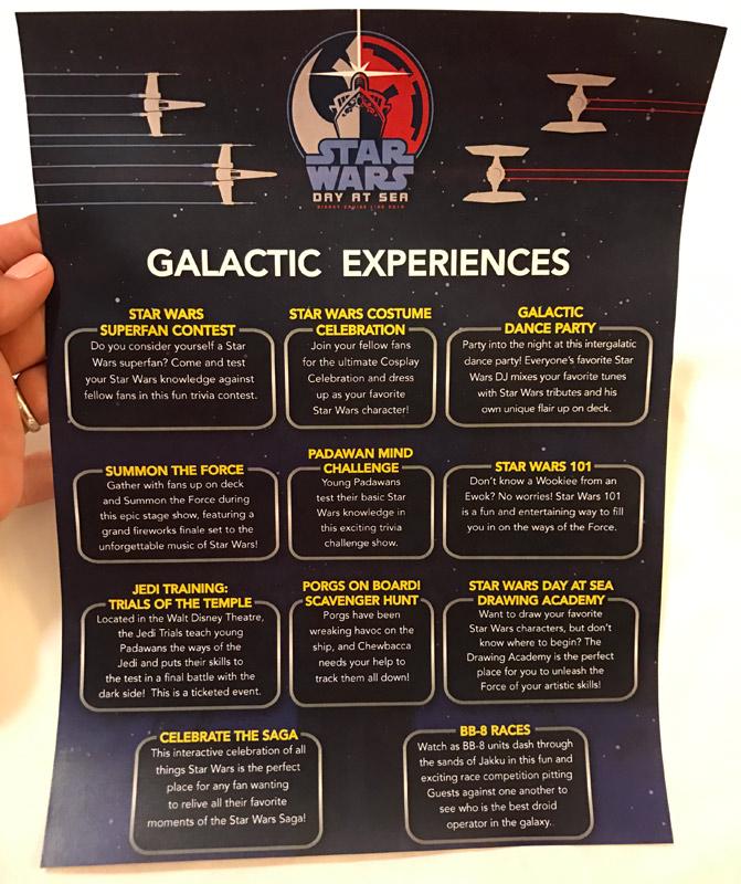 As principais experiências do dia Star Wars neste folheto que o camareiro deixou na cabine na noite anterior