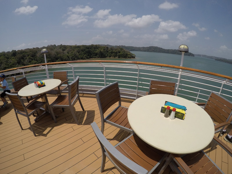 O Cabanas tem meses na área externa, aqui a vista era o Lago Gatun no Canal do Panamá