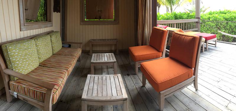 Panorama do interior da Cabana número 10